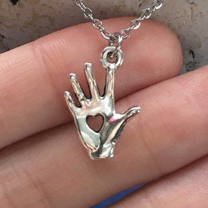 Helping Hand Heart Necklace Tibetan Silver 4for$20